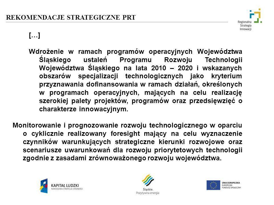 REKOMENDACJE STRATEGICZNE PRT […] Wdrożenie w ramach programów operacyjnych Województwa Śląskiego ustaleń Programu Rozwoju Technologii Województwa Ślą