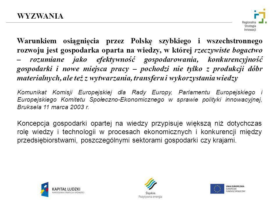 Warunkiem osiągnięcia przez Polskę szybkiego i wszechstronnego rozwoju jest gospodarka oparta na wiedzy, w której rzeczywiste bogactwo – rozumiane jak