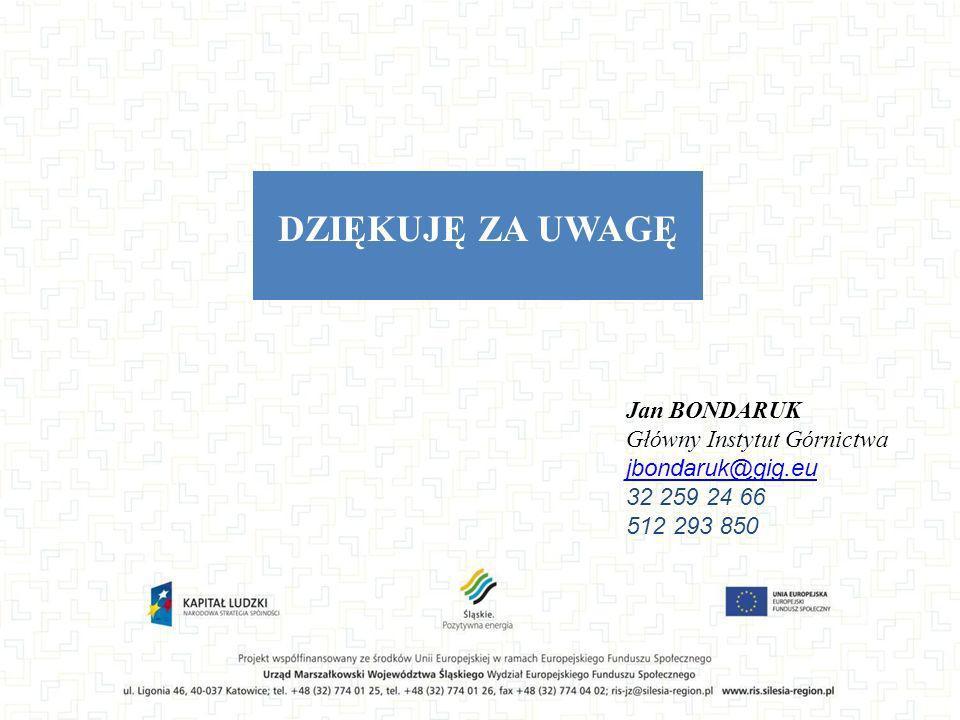 DZIĘKUJĘ ZA UWAGĘ Jan BONDARUK Główny Instytut Górnictwa jbondaruk@gig.eu 32 259 24 66 512 293 850
