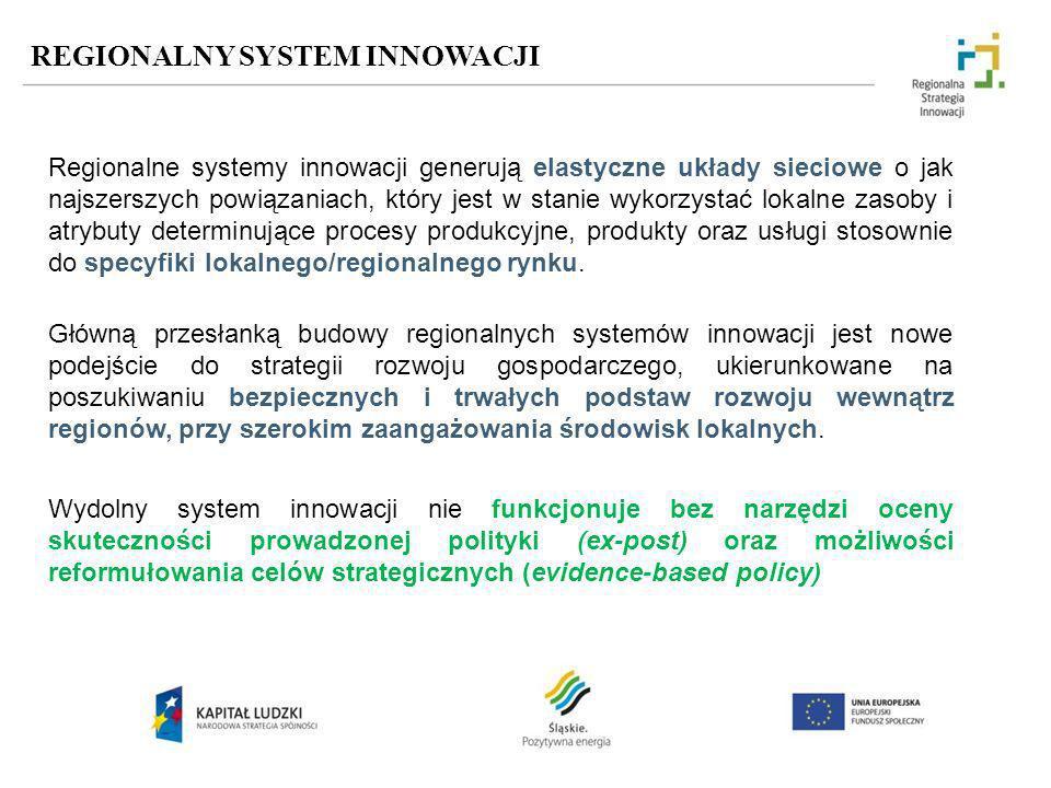 REGIONALNY SYSTEM INNOWACJI Regionalne systemy innowacji generują elastyczne układy sieciowe o jak najszerszych powiązaniach, który jest w stanie wyko