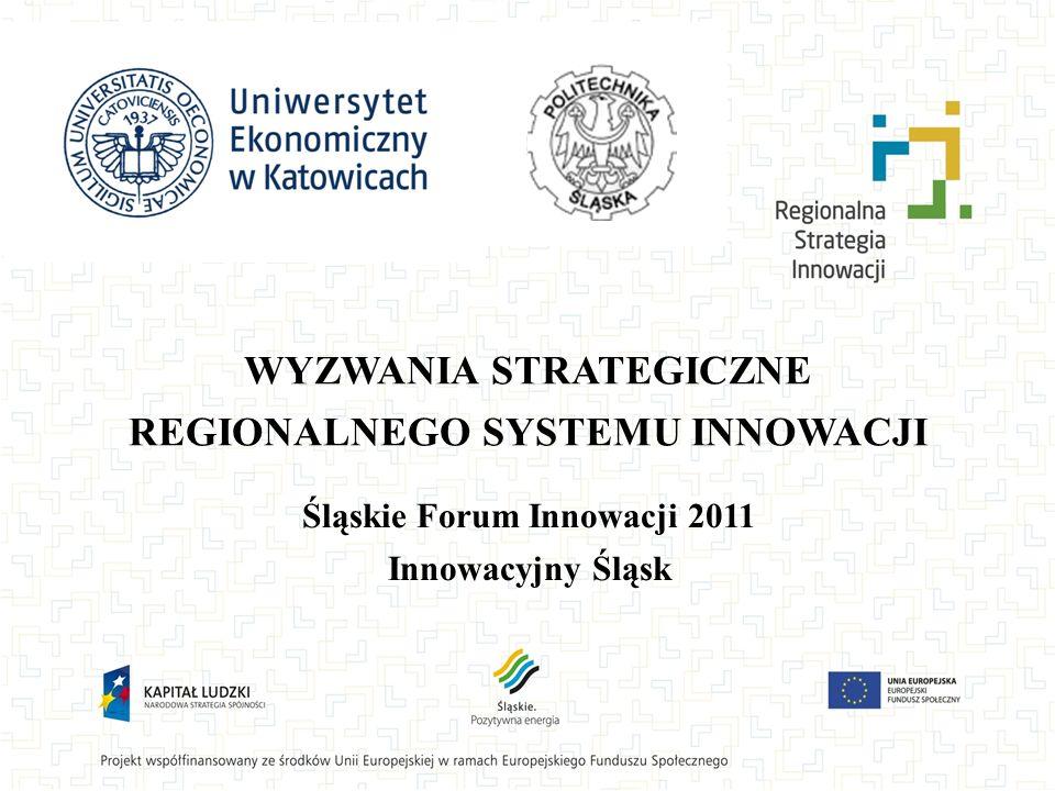 WYZWANIA STRATEGICZNE REGIONALNEGO SYSTEMU INNOWACJI Śląskie Forum Innowacji 2011 Innowacyjny Śląsk