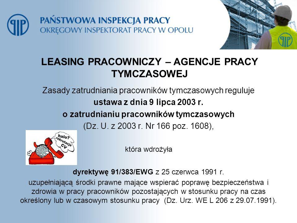 LEASING PRACOWNICZY – AGENCJE PRACY TYMCZASOWEJ Zasady zatrudniania pracowników tymczasowych reguluje ustawa z dnia 9 lipca 2003 r. o zatrudnianiu pra