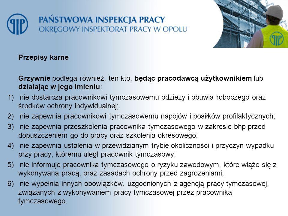 Przepisy karne Grzywnie podlega również, ten kto, będąc pracodawcą użytkownikiem lub działając w jego imieniu: 1) nie dostarcza pracownikowi tymczasow