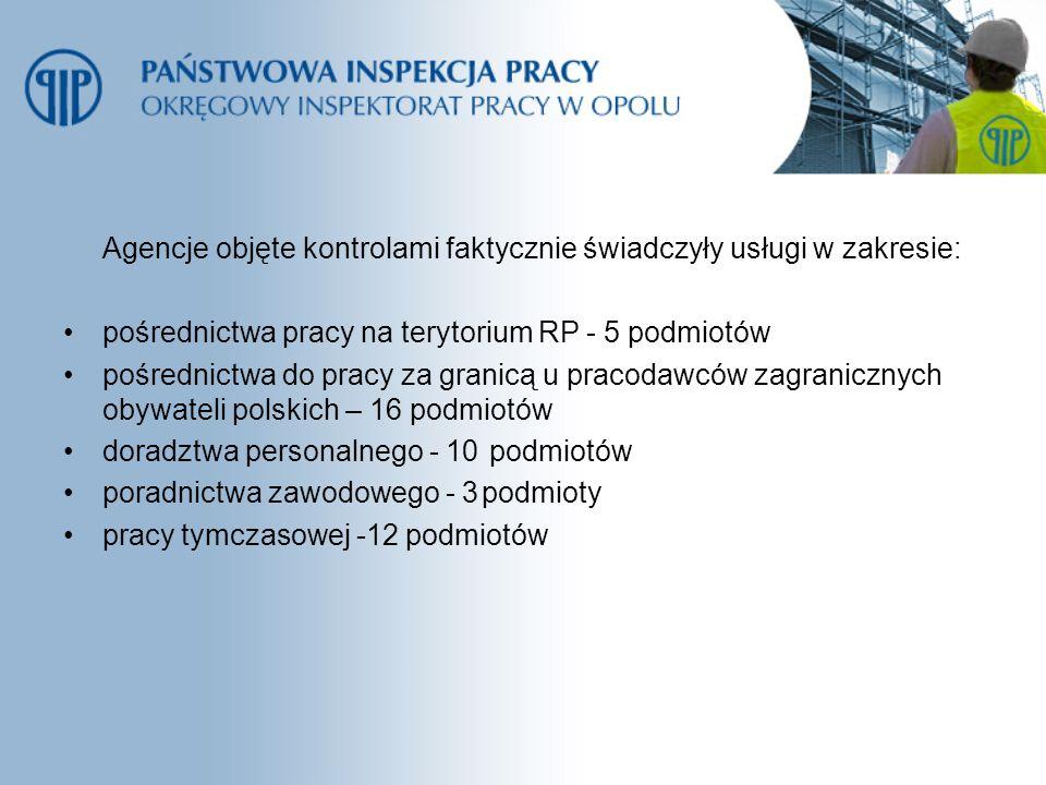 Agencje objęte kontrolami faktycznie świadczyły usługi w zakresie: pośrednictwa pracy na terytorium RP- 5 podmiotów pośrednictwa do pracy za granicą u