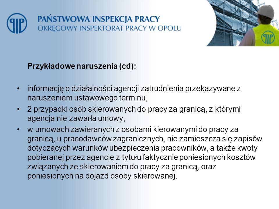 Przykładowe naruszenia (cd): informację o działalności agencji zatrudnienia przekazywane z naruszeniem ustawowego terminu, 2 przypadki osób skierowany