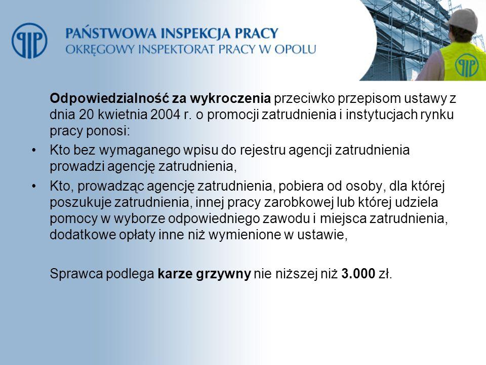 Odpowiedzialność za wykroczenia przeciwko przepisom ustawy z dnia 20 kwietnia 2004 r. o promocji zatrudnienia i instytucjach rynku pracy ponosi: Kto b
