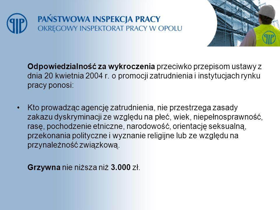Odpowiedzialność za wykroczenia przeciwko przepisom ustawy z dnia 20 kwietnia 2004 r. o promocji zatrudnienia i instytucjach rynku pracy ponosi: Kto p