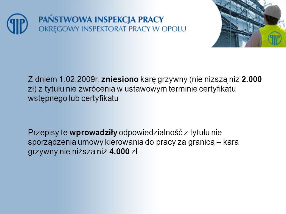 Z dniem 1.02.2009r. zniesiono karę grzywny (nie niższą niż 2.000 zł) z tytułu nie zwrócenia w ustawowym terminie certyfikatu wstępnego lub certyfikatu