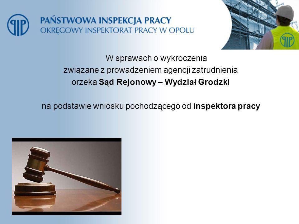 W sprawach o wykroczenia związane z prowadzeniem agencji zatrudnienia orzeka Sąd Rejonowy – Wydział Grodzki na podstawie wniosku pochodzącego od inspe