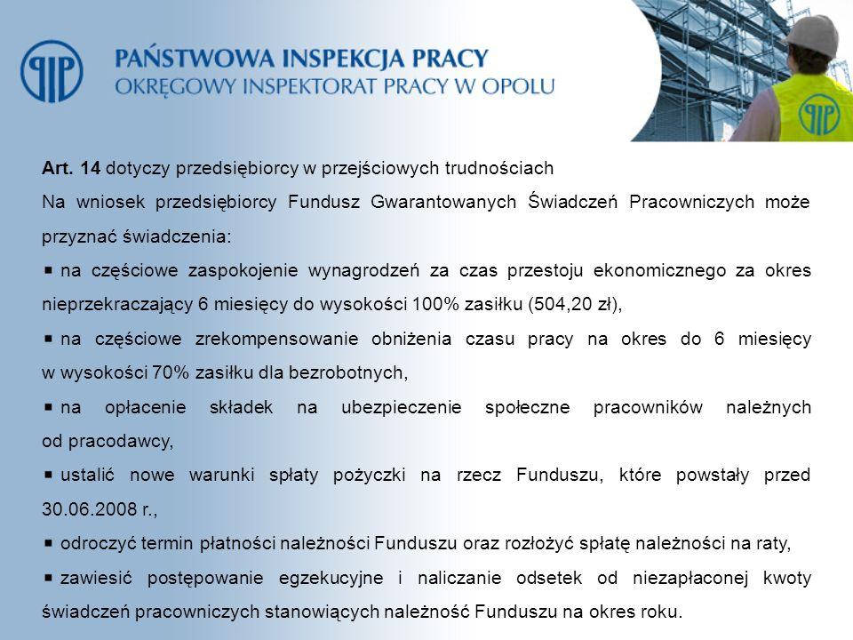 Art. 14 dotyczy przedsiębiorcy w przejściowych trudnościach Na wniosek przedsiębiorcy Fundusz Gwarantowanych Świadczeń Pracowniczych może przyznać świ