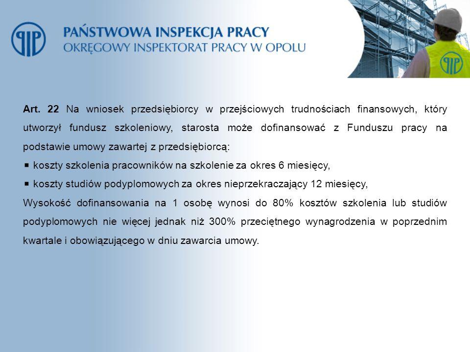 Art. 22 Na wniosek przedsiębiorcy w przejściowych trudnościach finansowych, który utworzył fundusz szkoleniowy, starosta może dofinansować z Funduszu