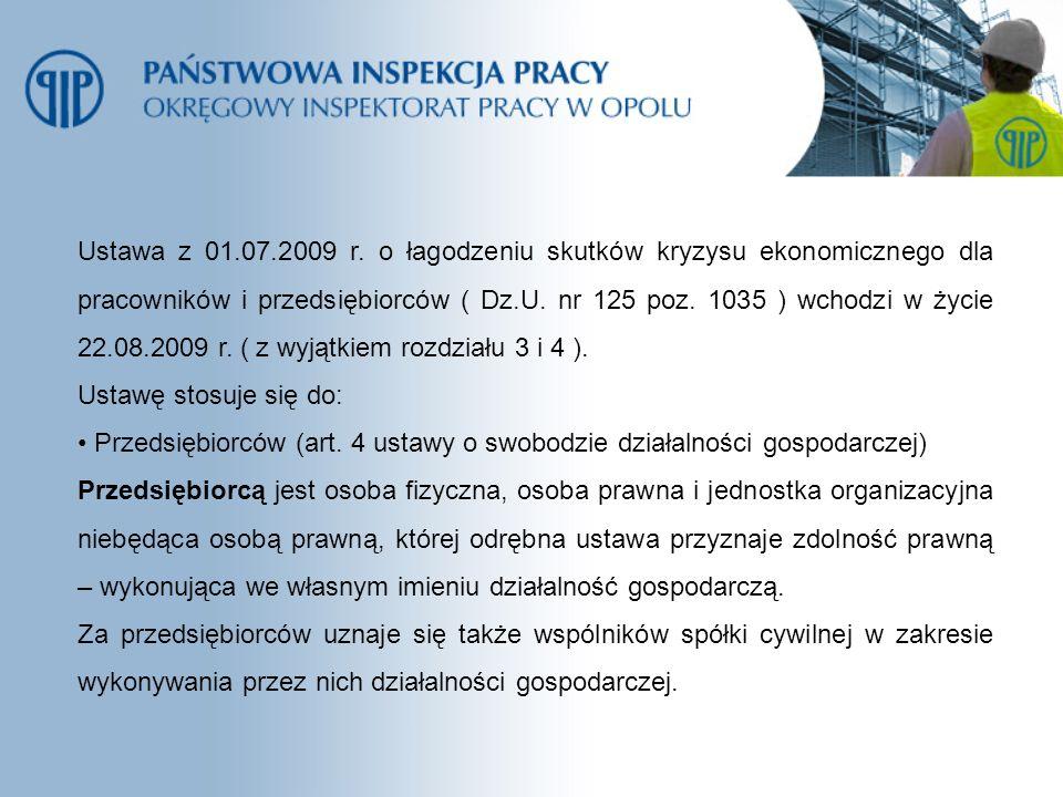 Ustawa z 01.07.2009 r. o łagodzeniu skutków kryzysu ekonomicznego dla pracowników i przedsiębiorców ( Dz.U. nr 125 poz. 1035 ) wchodzi w życie 22.08.2