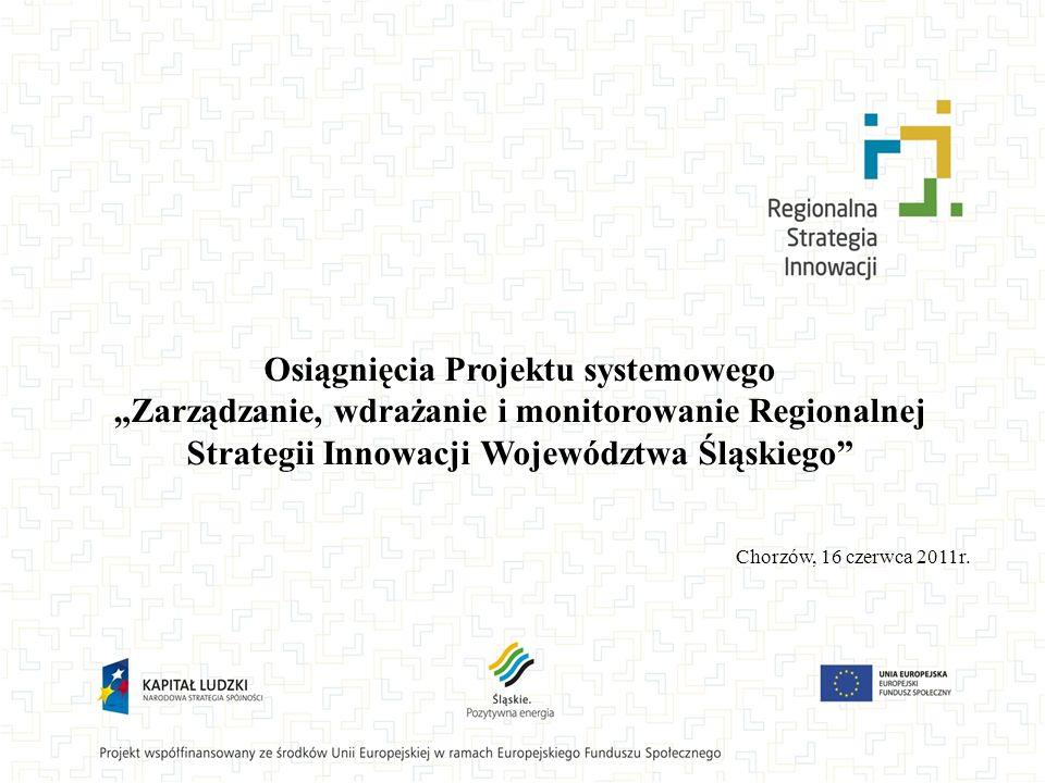Osiągnięcia Projektu systemowego Zarządzanie, wdrażanie i monitorowanie Regionalnej Strategii Innowacji Województwa Śląskiego Chorzów, 16 czerwca 2011