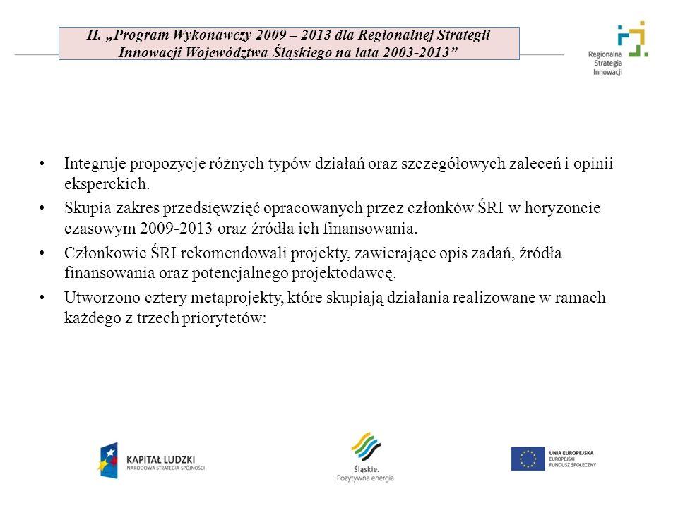II. Program Wykonawczy 2009 – 2013 dla Regionalnej Strategii Innowacji Województwa Śląskiego na lata 2003-2013 Integruje propozycje różnych typów dzia
