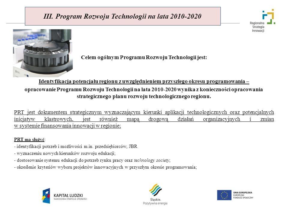 III. Program Rozwoju Technologii na lata 2010-2020 Celem ogólnym Programu Rozwoju Technologii jest: Identyfikacja potencjału regionu z uwzględnieniem