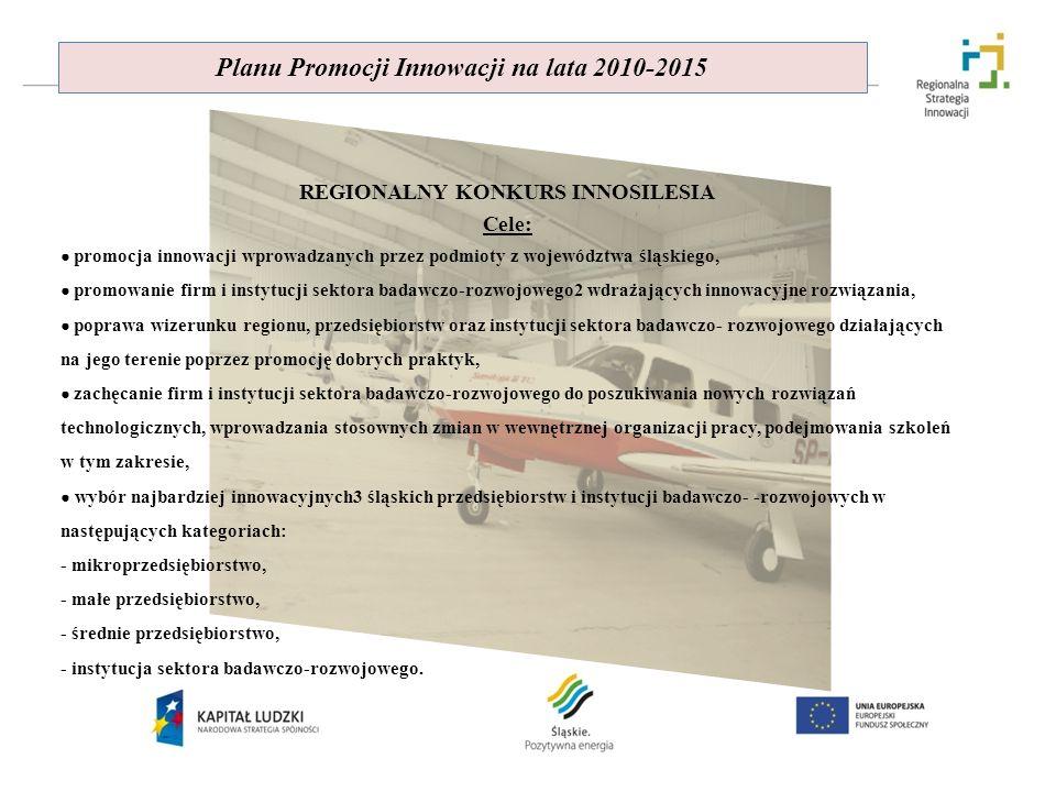 Planu Promocji Innowacji na lata 2010-2015 REGIONALNY KONKURS INNOSILESIA Cele: promocja innowacji wprowadzanych przez podmioty z województwa śląskieg