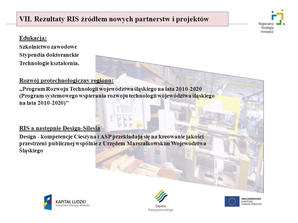 VII. Rezultaty RIS źródłem nowych partnerstw i projektów Edukacja: Szkolnictwo zawodowe Stypendia doktoranckie Technologie kształcenia. Rozwój protech