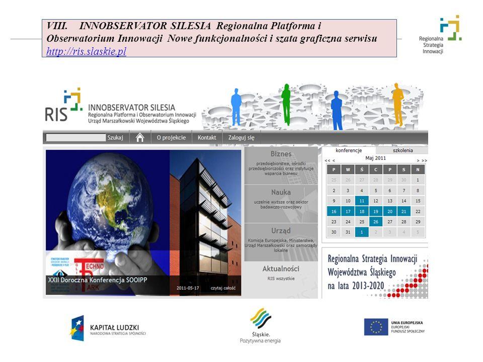 VIII. INNOBSERVATOR SILESIA Regionalna Platforma i Obserwatorium Innowacji Nowe funkcjonalności i szata graficzna serwisu http://ris.slaskie.pl http:/