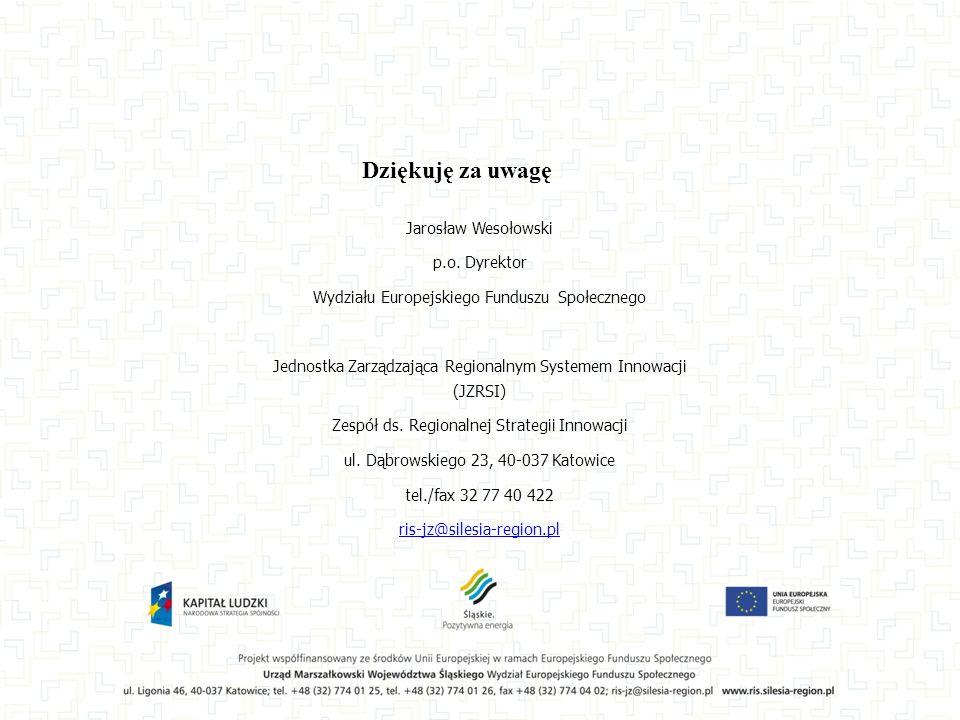 Jarosław Wesołowski p.o. Dyrektor Wydziału Europejskiego Funduszu Społecznego Jednostka Zarządzająca Regionalnym Systemem Innowacji (JZRSI) Zespół ds.