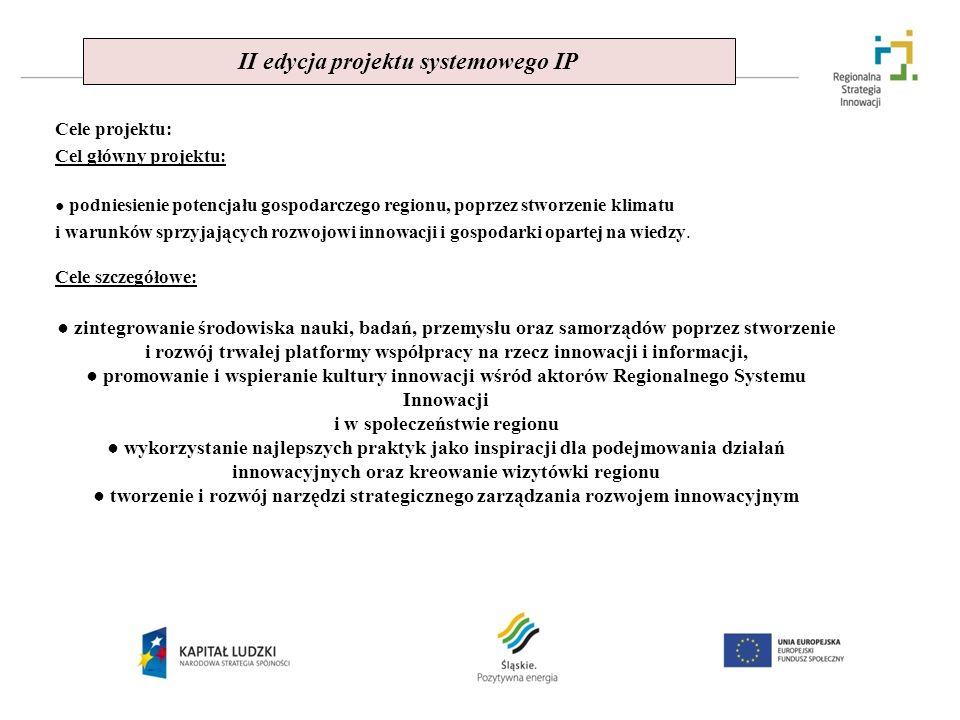 II edycja projektu systemowego IP Cele projektu: Cel główny projektu: podniesienie potencjału gospodarczego regionu, poprzez stworzenie klimatu i waru
