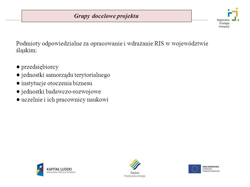 Grupy docelowe projektu Podmioty odpowiedzialne za opracowanie i wdrażanie RIS w województwie śląskim: przedsiębiorcy jednostki samorządu terytorialne
