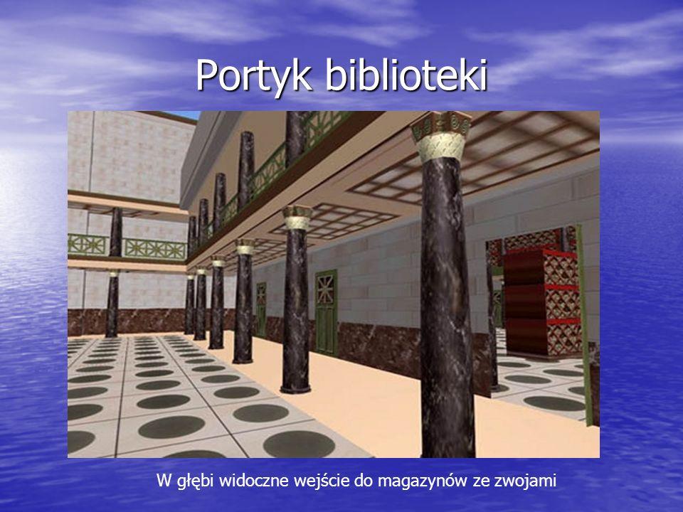 Portyk biblioteki W głębi widoczne wejście do magazynów ze zwojami