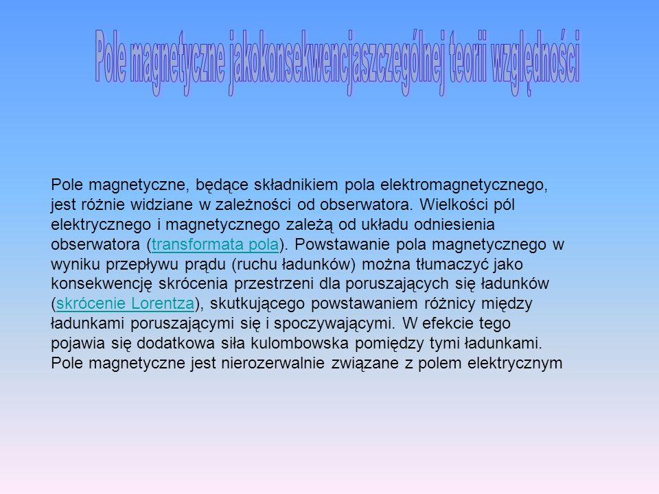 Pole magnetyczne, będące składnikiem pola elektromagnetycznego, jest różnie widziane w zależności od obserwatora. Wielkości pól elektrycznego i magnet