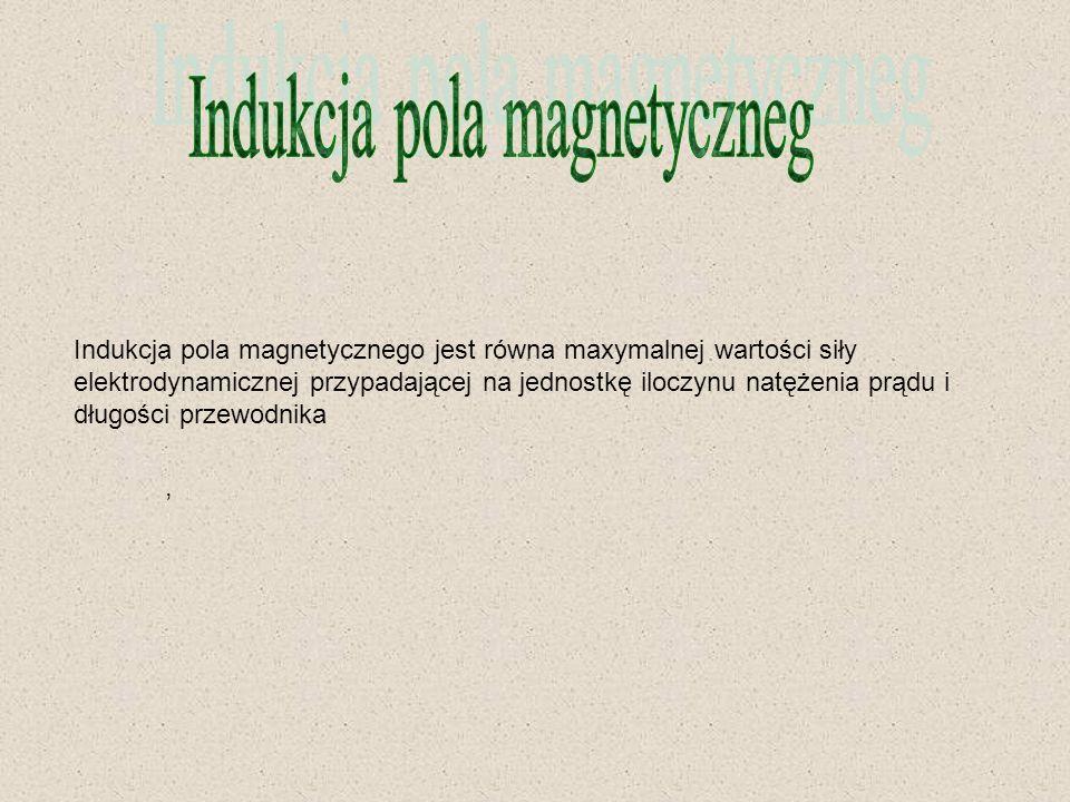 Indukcja pola magnetycznego jest równa maxymalnej wartości siły elektrodynamicznej przypadającej na jednostkę iloczynu natężenia prądu i długości prze