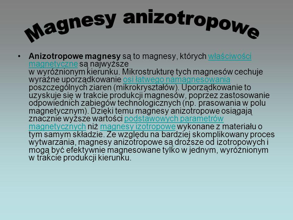 Anizotropowe magnesy są to magnesy, których właściwości magnetyczne są najwyższe w wyróżnionym kierunku. Mikrostrukturę tych magnesów cechuje wyraźne