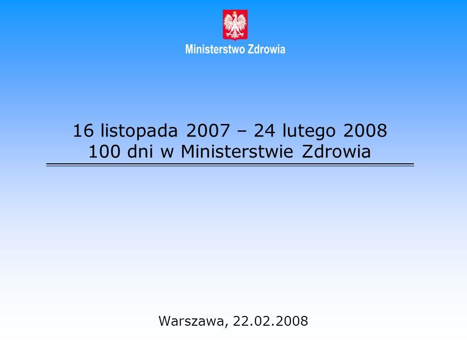 16 listopada 2007 – 24 lutego 2008 100 dni w Ministerstwie Zdrowia Warszawa, 22.02.2008