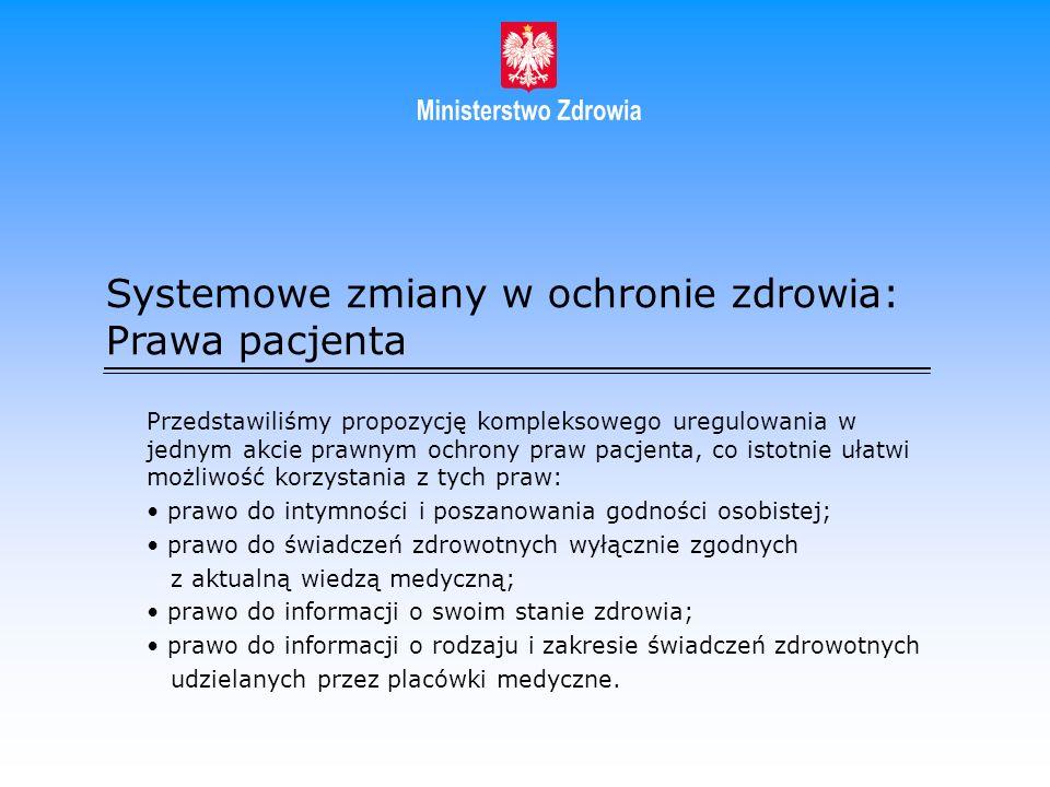 Systemowe zmiany w ochronie zdrowia: Prawa pacjenta Przedstawiliśmy propozycję kompleksowego uregulowania w jednym akcie prawnym ochrony praw pacjenta