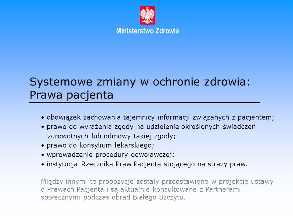 Systemowe zmiany w ochronie zdrowia: Prawa pacjenta obowiązek zachowania tajemnicy informacji związanych z pacjentem; prawo do wyrażenia zgody na udzi