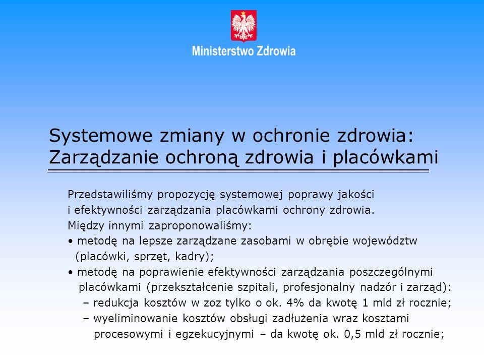 Systemowe zmiany w ochronie zdrowia: Zarządzanie ochroną zdrowia i placówkami Przedstawiliśmy propozycję systemowej poprawy jakości i efektywności zar