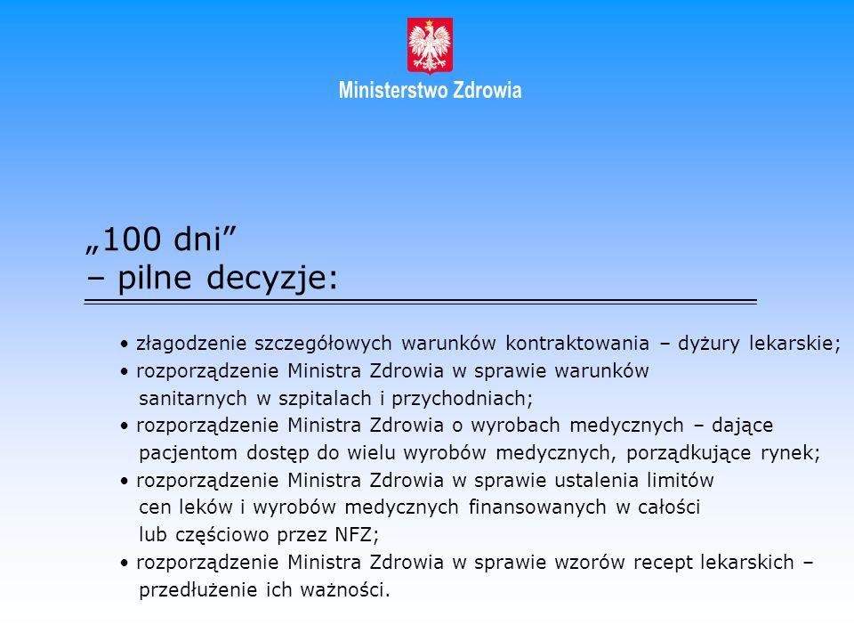 100 dni – pilne decyzje: złagodzenie szczegółowych warunków kontraktowania – dyżury lekarskie; rozporządzenie Ministra Zdrowia w sprawie warunków sani
