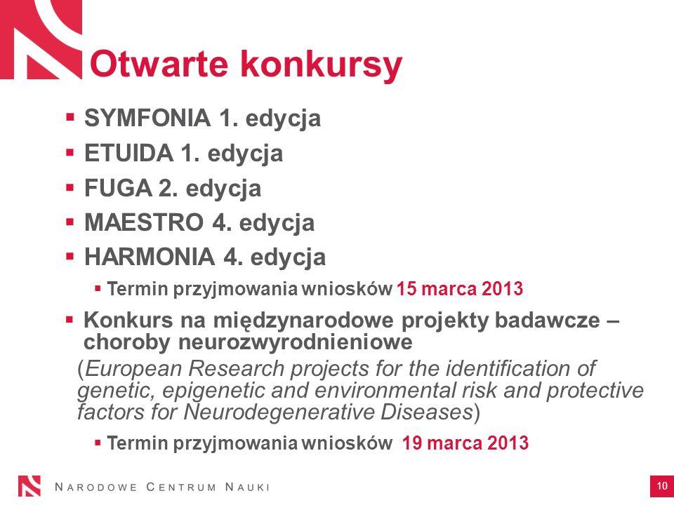 Otwarte konkursy SYMFONIA 1. edycja ETUIDA 1. edycja FUGA 2. edycja MAESTRO 4. edycja HARMONIA 4. edycja Termin przyjmowania wniosków 15 marca 2013 Ko