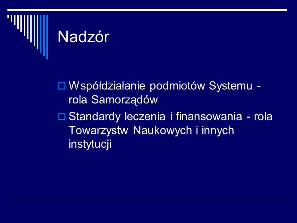 Nadzór Współdziałanie podmiotów Systemu - rola Samorządów Standardy leczenia i finansowania - rola Towarzystw Naukowych i innych instytucji