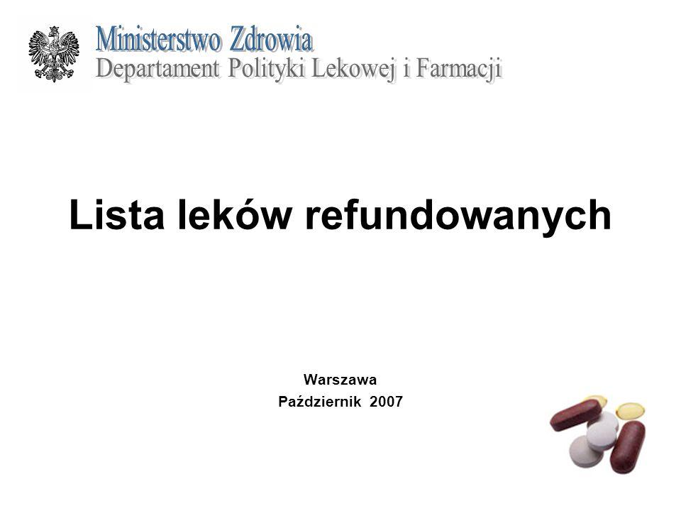 Lista leków refundowanych Warszawa Październik 2007