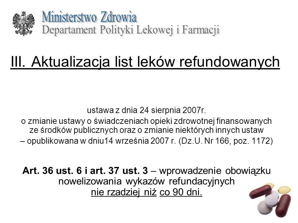 III. Aktualizacja list leków refundowanych ustawa z dnia 24 sierpnia 2007r. o zmianie ustawy o świadczeniach opieki zdrowotnej finansowanych ze środkó