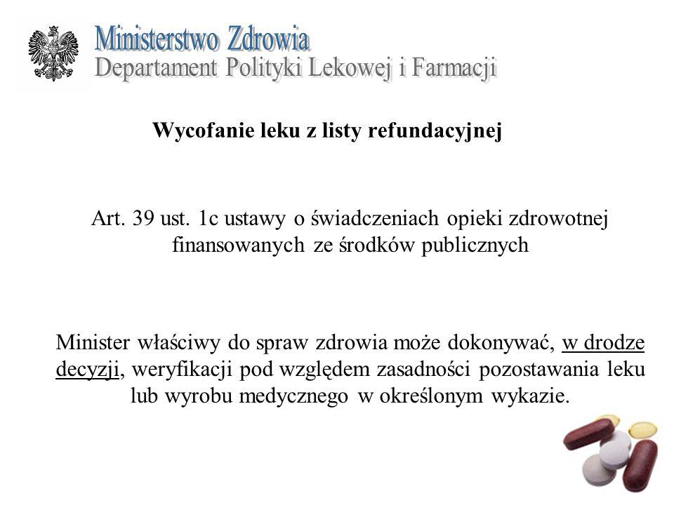 Wycofanie leku z listy refundacyjnej Art. 39 ust. 1c ustawy o świadczeniach opieki zdrowotnej finansowanych ze środków publicznych Minister właściwy d