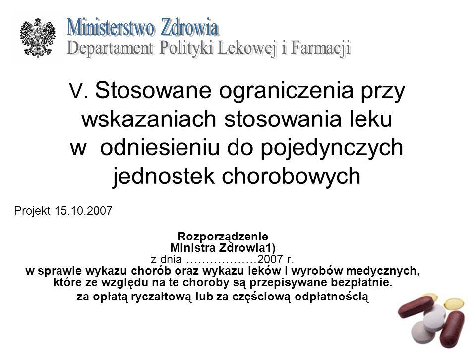 V. Stosowane ograniczenia przy wskazaniach stosowania leku w odniesieniu do pojedynczych jednostek chorobowych Projekt 15.10.2007 Rozporządzenie Minis