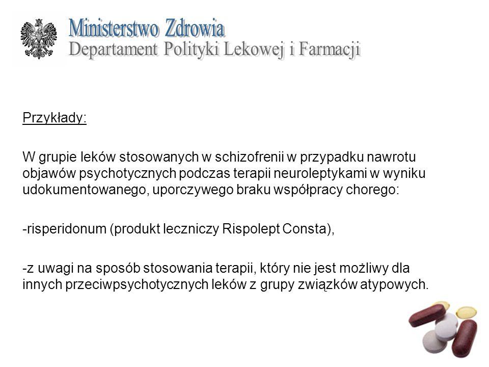 Przykłady: W grupie leków stosowanych w schizofrenii w przypadku nawrotu objawów psychotycznych podczas terapii neuroleptykami w wyniku udokumentowane