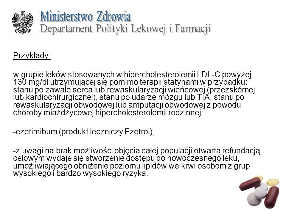 Przykłady: w grupie leków stosowanych w hipercholesterolemii LDL-C powyżej 130 mg/dl utrzymującej się pomimo terapii statynami w przypadku: stanu po z