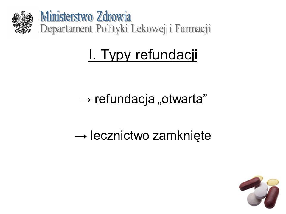 I. Typy refundacji refundacja otwarta lecznictwo zamknięte