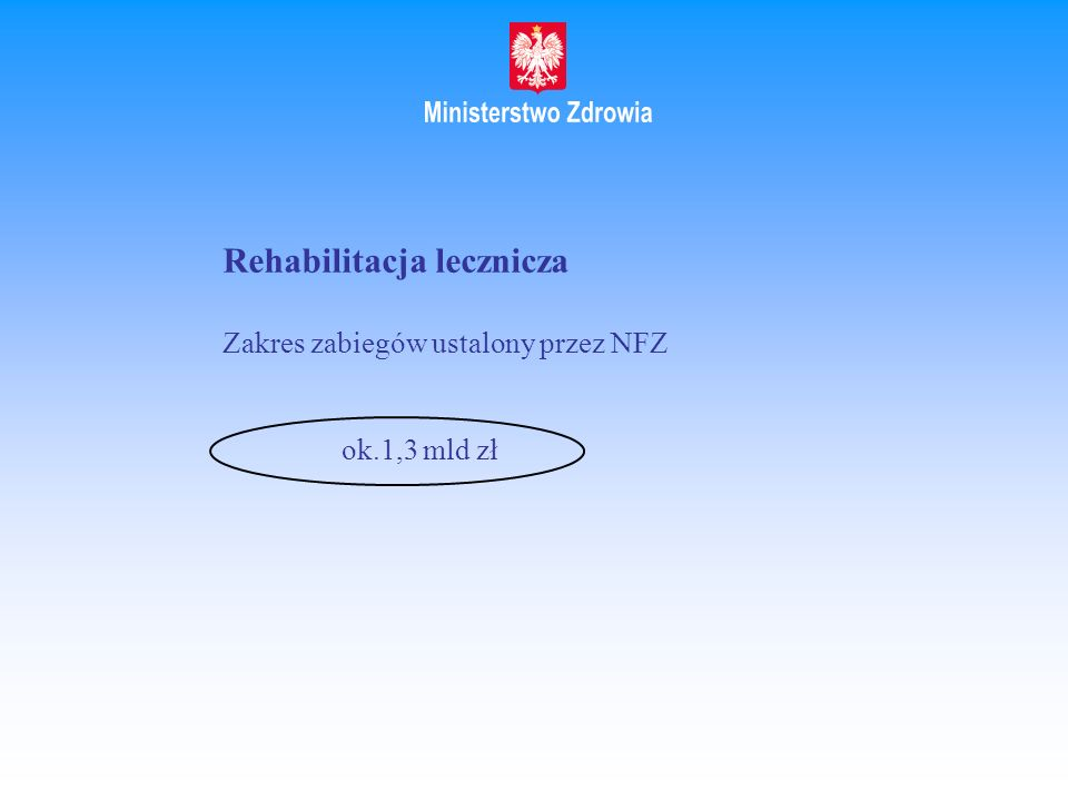 Rehabilitacja lecznicza Zakres zabiegów ustalony przez NFZ ok.1,3 mld zł