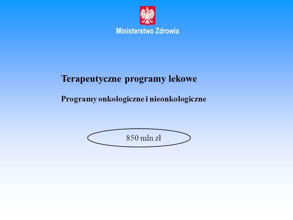 Terapeutyczne programy lekowe Programy onkologiczne i nieonkologiczne 850 mln zł
