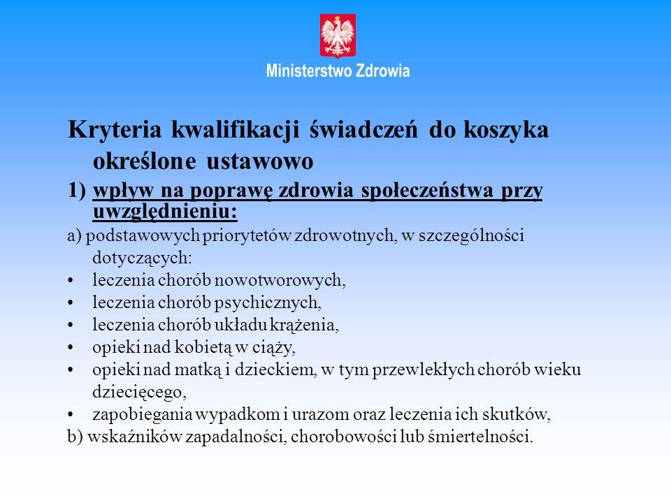 Kryteria kwalifikacji świadczeń do koszyka określone ustawowo 1)wpływ na poprawę zdrowia społeczeństwa przy uwzględnieniu: a) podstawowych priorytetów
