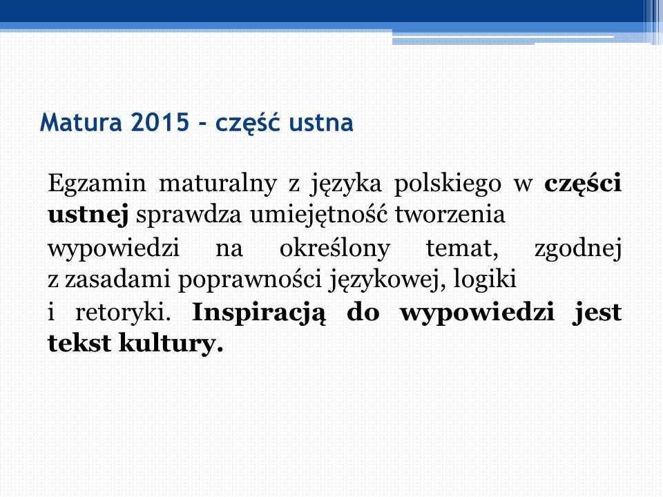Matura 2015 - część ustna Egzamin maturalny z języka polskiego w części ustnej sprawdza umiejętność tworzenia wypowiedzi na określony temat, zgodnej z