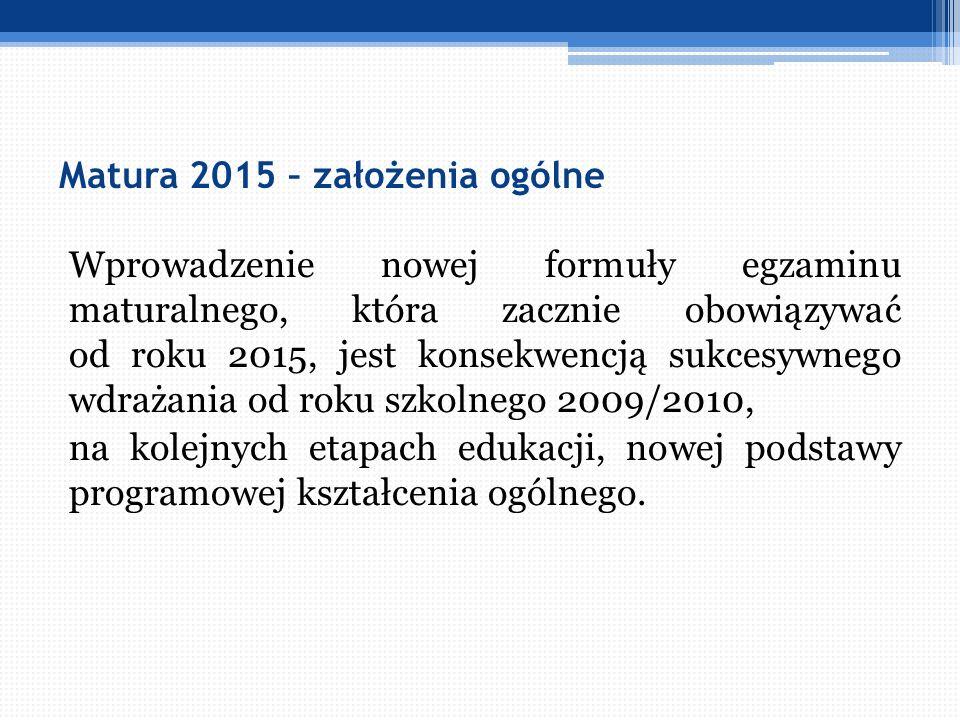 Matura 2015 – założenia ogólne Wprowadzenie nowej formuły egzaminu maturalnego, która zacznie obowiązywać od roku 2015, jest konsekwencją sukcesywnego
