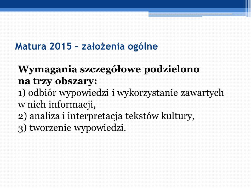Matura 2015 – założenia ogólne Wymagania szczegółowe podzielono na trzy obszary: 1) odbiór wypowiedzi i wykorzystanie zawartych w nich informacji, 2)