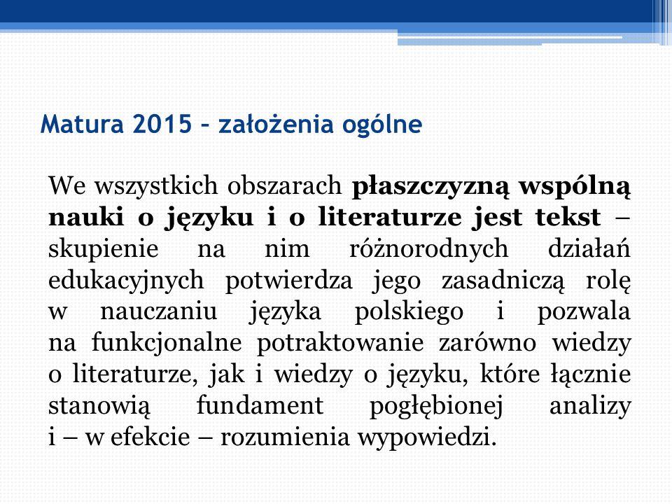Matura 2015 – założenia ogólne We wszystkich obszarach płaszczyzną wspólną nauki o języku i o literaturze jest tekst – skupienie na nim różnorodnych d